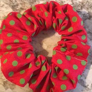 Red green polkadots polkadots scrunchie Christmas